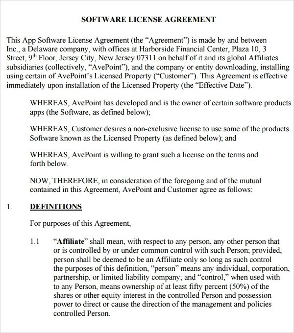 Software License Agreement - 15+ Free PDF, DOC Download