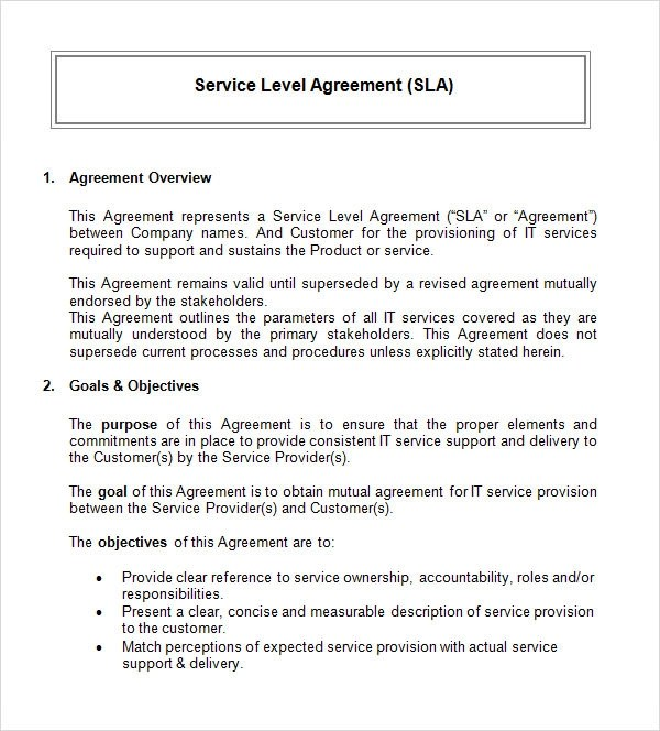 Service Level Agreement - 8+ Download Free Documents in PDF, Word - it service agreement template