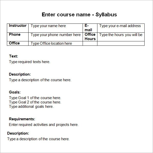 9+ Sample Syllabus Templates Sample Templates - syllabus template