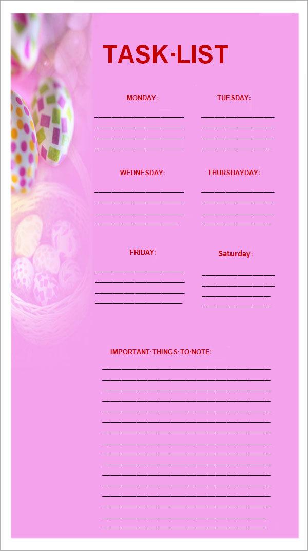 task list excel template