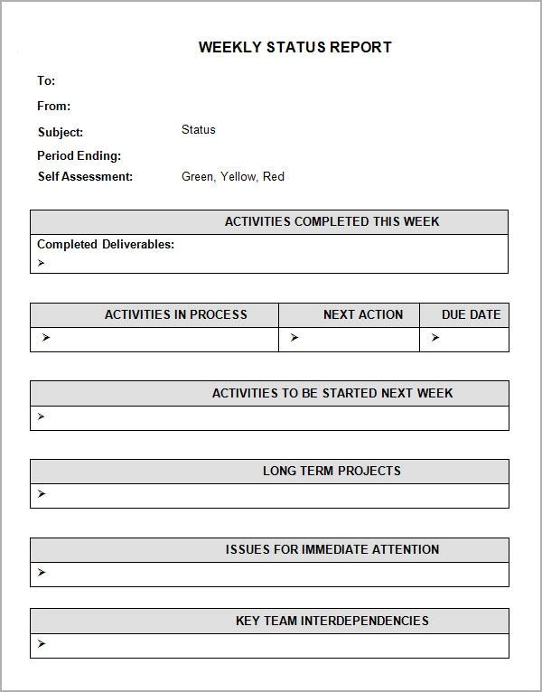 weekly status report formats