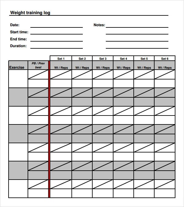 9+ Free Sample Training Log Templates Sample Templates - Weight Training Log Template