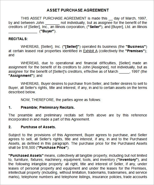 Asset Purchase Agreement - 7 Free Pdf , Doc Download - sample stock purchase agreement