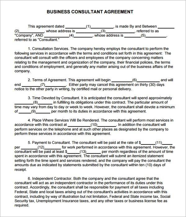 Consulting Agreement - 5+ Free Pdf , Doc Download - business consultant agreement