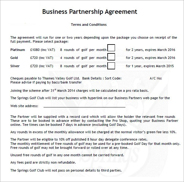 Free Partnership Agreement Template Form – Business Partnership Contract Sample