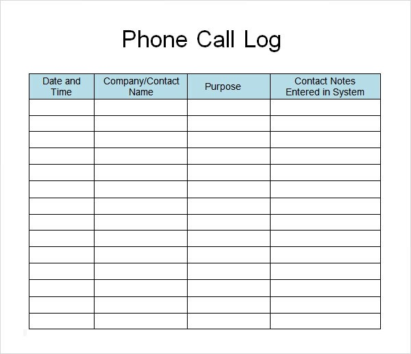 13+ Sample Call Log Templates - PDF, Word, Excel, Pages