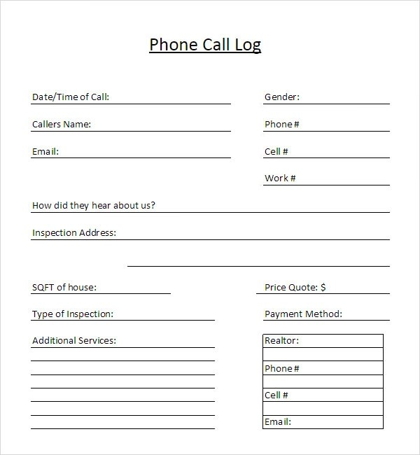 13+ Sample Call Log Templates \u2013 PDF, Word, Excel, Pages Sample - address template for word
