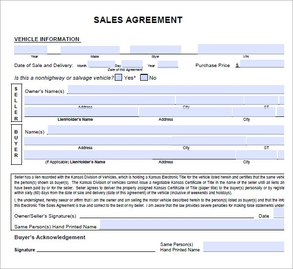 car sale contract