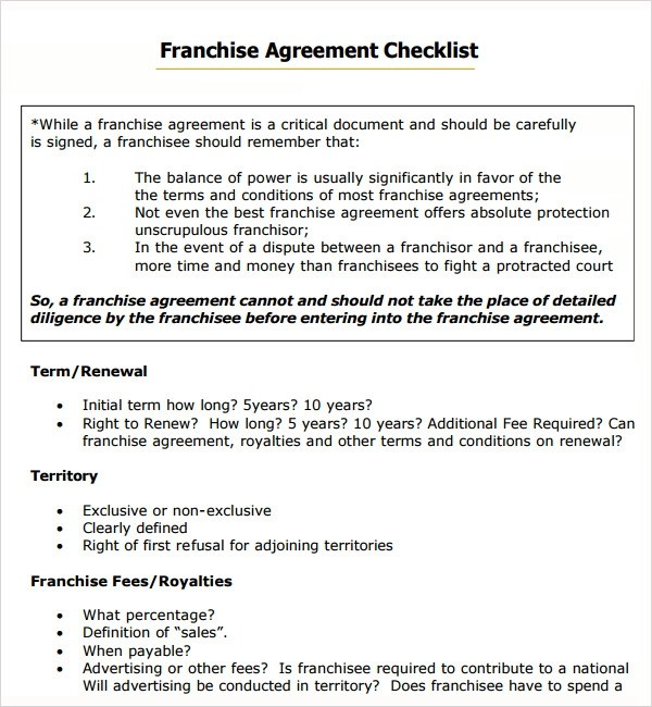 Sample Franchise Agreement - 7+ Documents in PDF, Word - sample business agreements