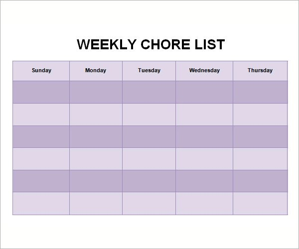 Chore List Templates - 7+ Free Documents Download in Word, Excel, PDF
