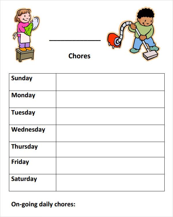 9+ Chore List Samples Sample Templates