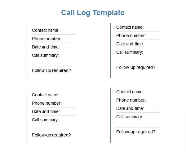 client call log sheet template - contact log template
