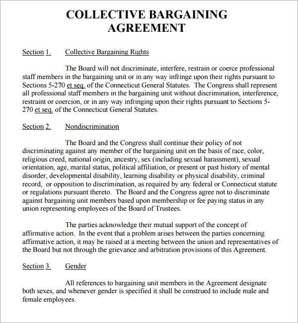sle collective bargaining agreement - Teacheng - collective bargaining agreement template