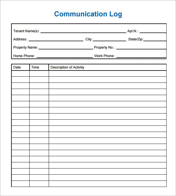 conversation log template - Hacisaecsa - contact log template