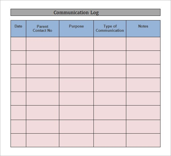 7+ Communication Log Samples Sample Templates - contact log template