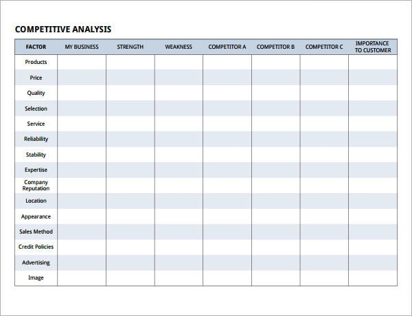competitive analysis matrix template - Ozilalmanoof - competitive analysis templates