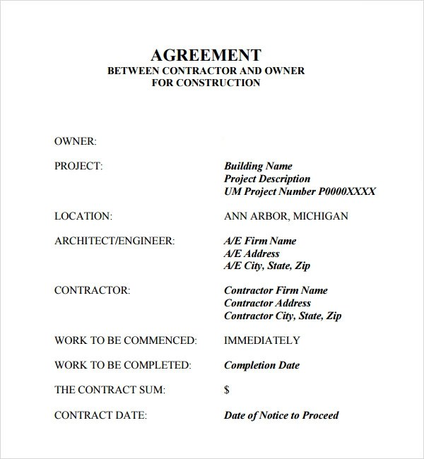 Construction Contract Agreement Doc CV RESUMES MAKER GUIDE - Construction contract template doc