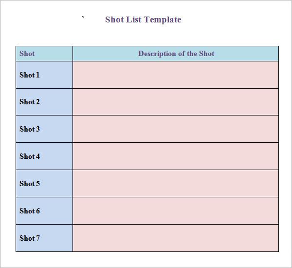 photography shot list template