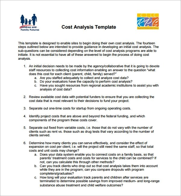 Sample Cost Analysis - 13+ Documents in PDF, Word, Excel - data analysis template
