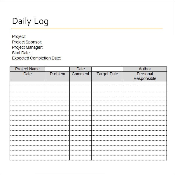 16+ Sample Daily Log Templates \u2013 PDF, DOC Sample Templates