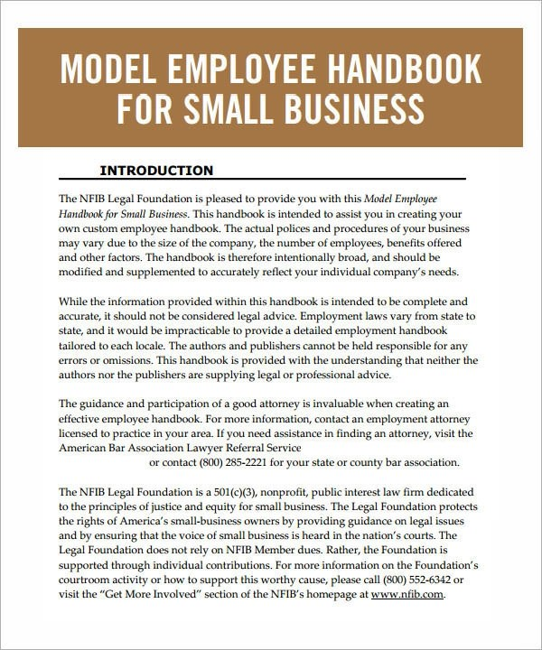 6 Sample Printable Employee Handbook Templates Sample Templates - Employee Manual Template