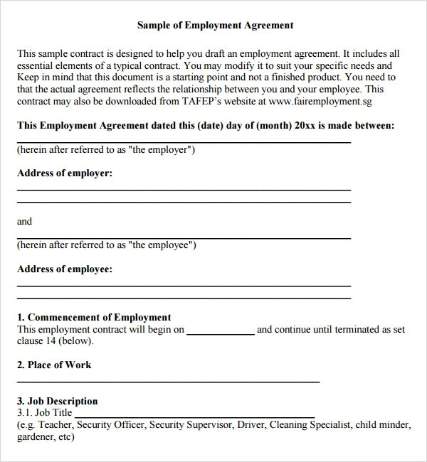 Free Employment Contract Form Node2002 Cvresumeasprovider