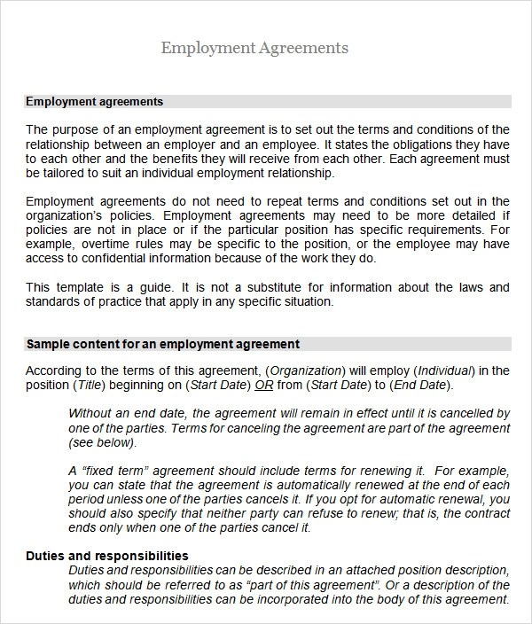 6+ Employment Agreement Templates Sample Templates - employment contract free template