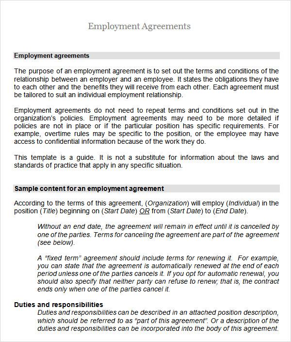 6+ Employment Agreement Templates Sample Templates