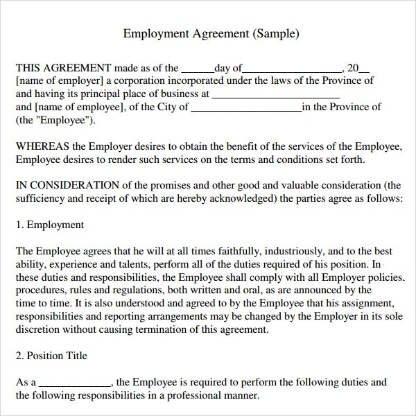 Sample Employment Agreement Template 10+ Employment Contract - job agreement contract