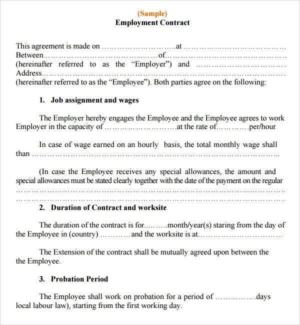 employment contract template - employment agreement contract