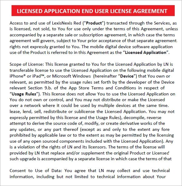 6 Sample Free End User License Agreement Templates Sample Templates - license agreement template
