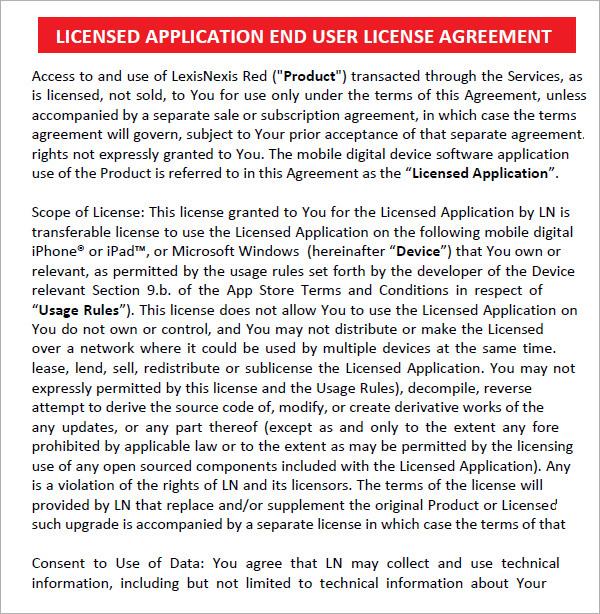 End User License Agreement - 6 Free Pdf , Doc Download