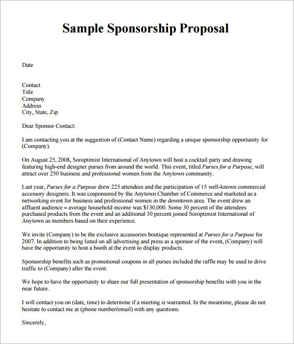 sle of proposal for sponsorship - 28 images - presentation proposal - Event Sponsorship Letter