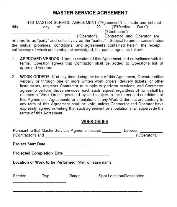 15+ Sample Master Service Agreement Templates Sample Templates