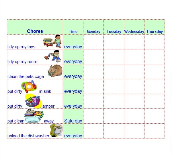 8+ Chore List Templates Sample Templates