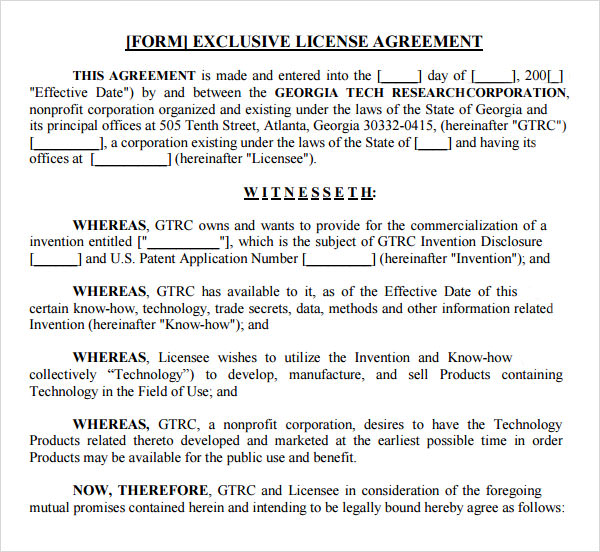 Sample License Agreement Template - 10+ Free Documents in PDF, DOC - agreement form doc