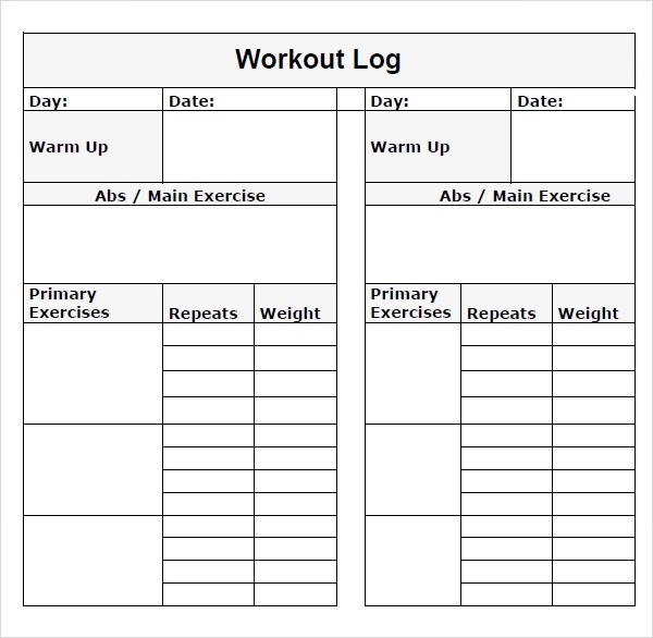 workout log template pdf - weekly food chart template