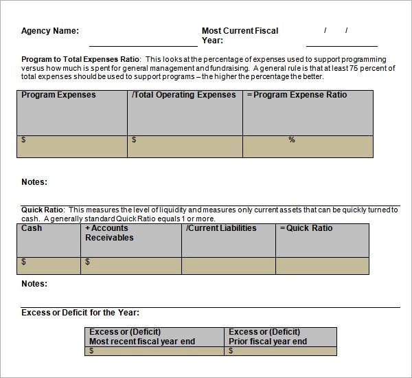 project financial analysis template