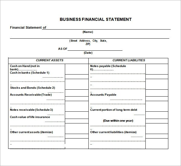 small business financial statement template - Militarybralicious - monthly financial report template