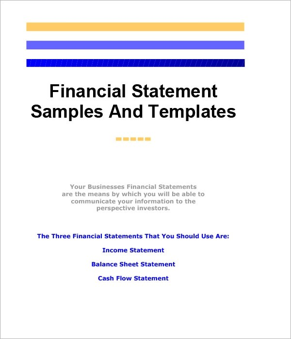 Sample Financial Statement - 8+ Documents in Word, Excel, PDF,