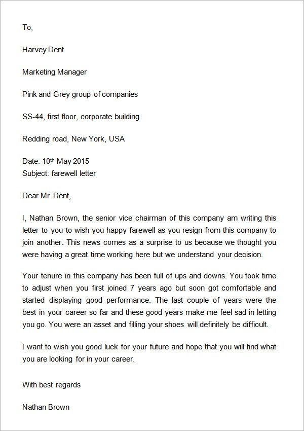 Employee Resignation Letter Sample Sample Formal Letters 17 Free Documents Download In Pdf