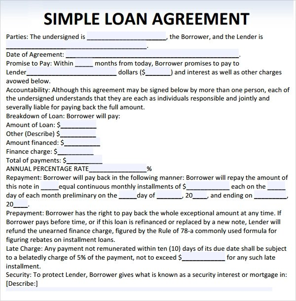 Loan Agreement Template Document – Sample Loan Document