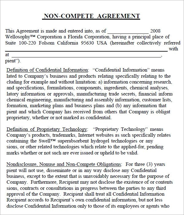 7 Sample Non Compete Agreement Templates to Download Sample Templates - non compete agreement template
