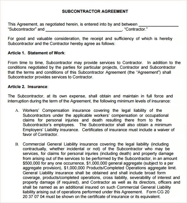 18 Subcontractor Agreement Templates Sample Templates - subcontractor agreements