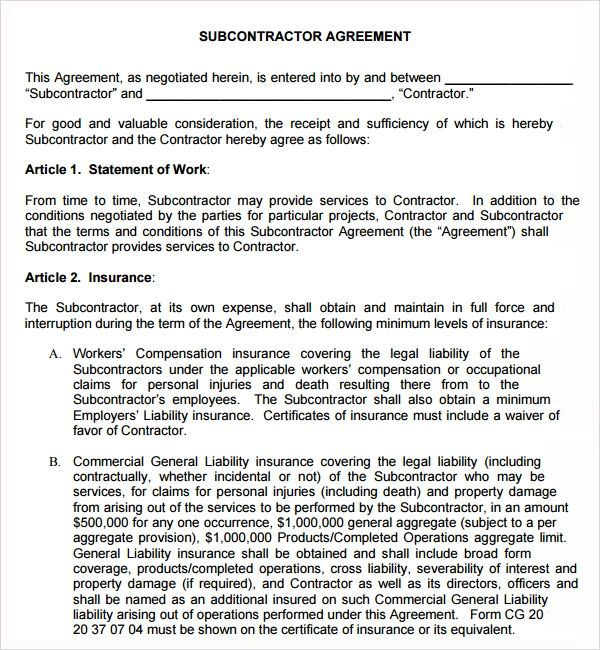 subcontractor agreement doc