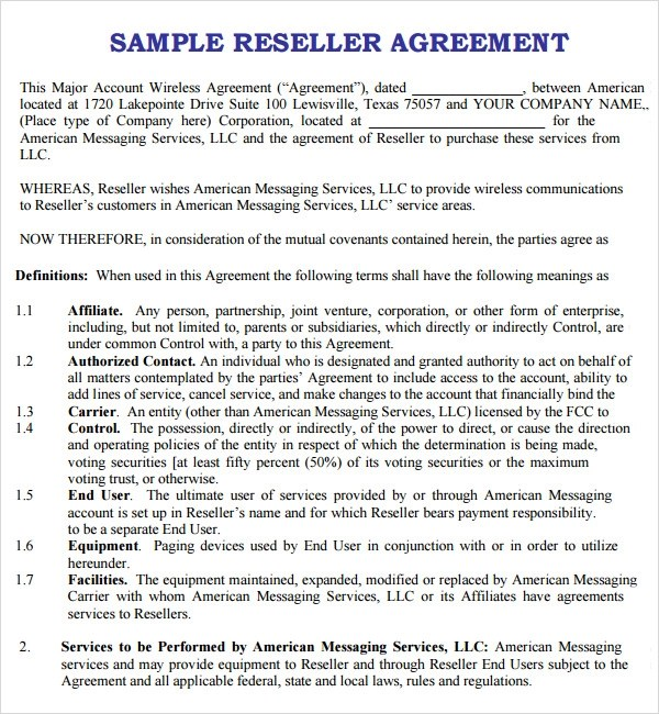 Reseller Agreement - 7+ Download Free Documents in PDF, Word - sample reseller agreement template