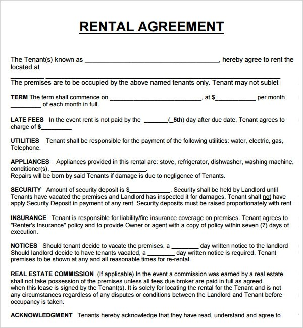 Free Lease Agreement Template For Rental House – Rental House Lease Agreement Template