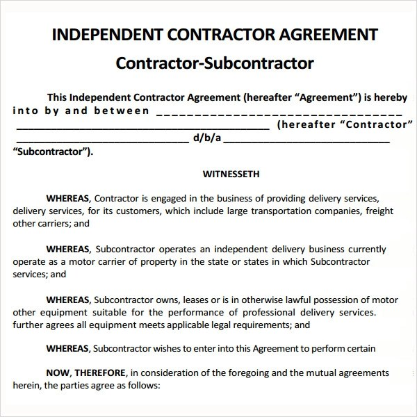 Sample Subcontractor Agreement - 10+ Free Documents Downlaod in - subcontractor agreement template
