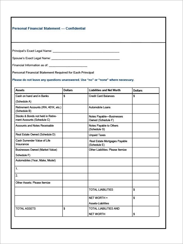 personal financial template excel