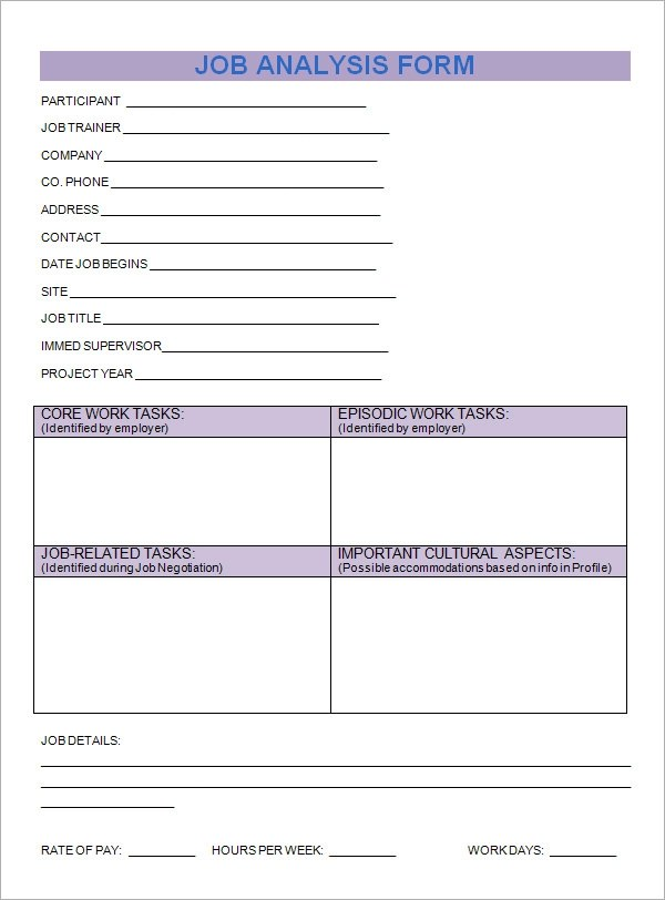 7 Sample Job Analysis Templates Sample Templates - job analysis